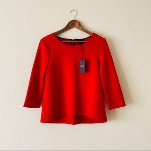 W5 Red Polka Dot 3/4 Sleeve Top